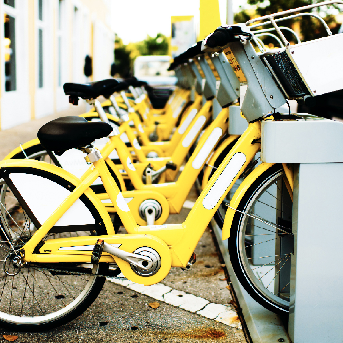 Yello bikes in rack